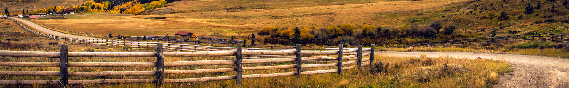 Country dirt road with ranch fencing